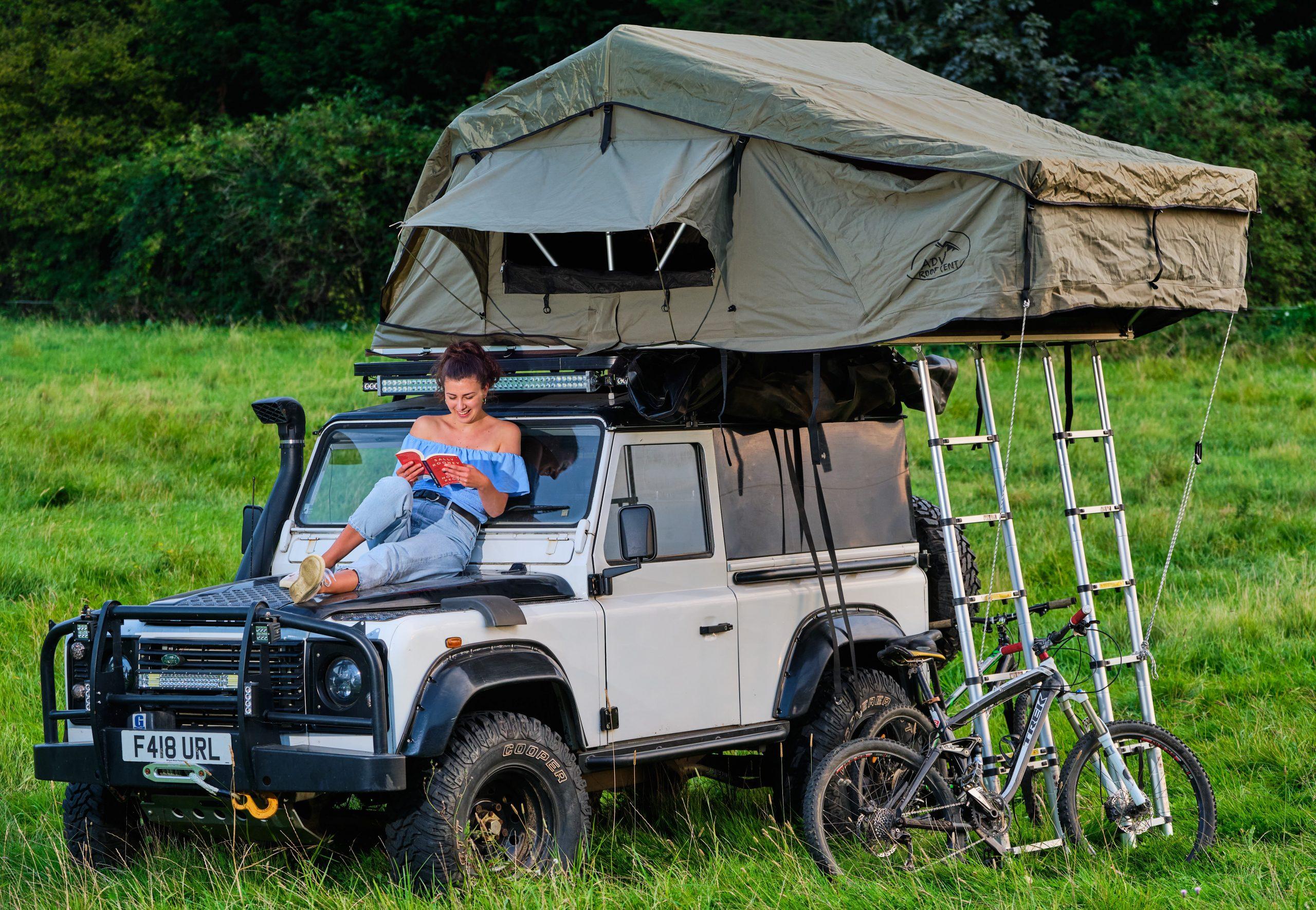 Roof Tent on White Defender 90